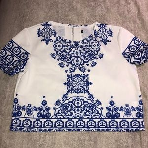 Tops - Blue and white patterned shirt